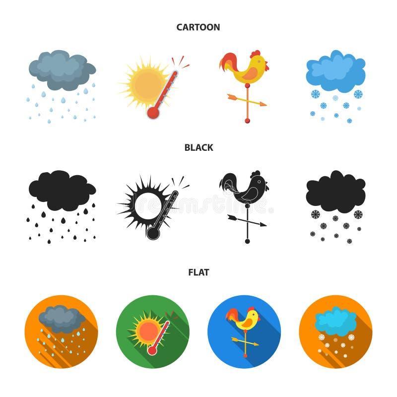 Дождь, снег, жара, weathervane Значки собрания погоды установленные в шарже, черноте, плоском запасе символа вектора стиля бесплатная иллюстрация