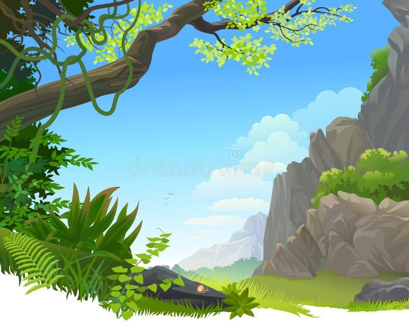 Дождевой лес Амазонки и скалистая гора иллюстрация вектора