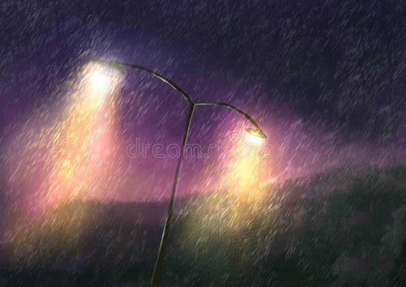 Дождливый день на ноче с красивым освещением иллюстрация вектора