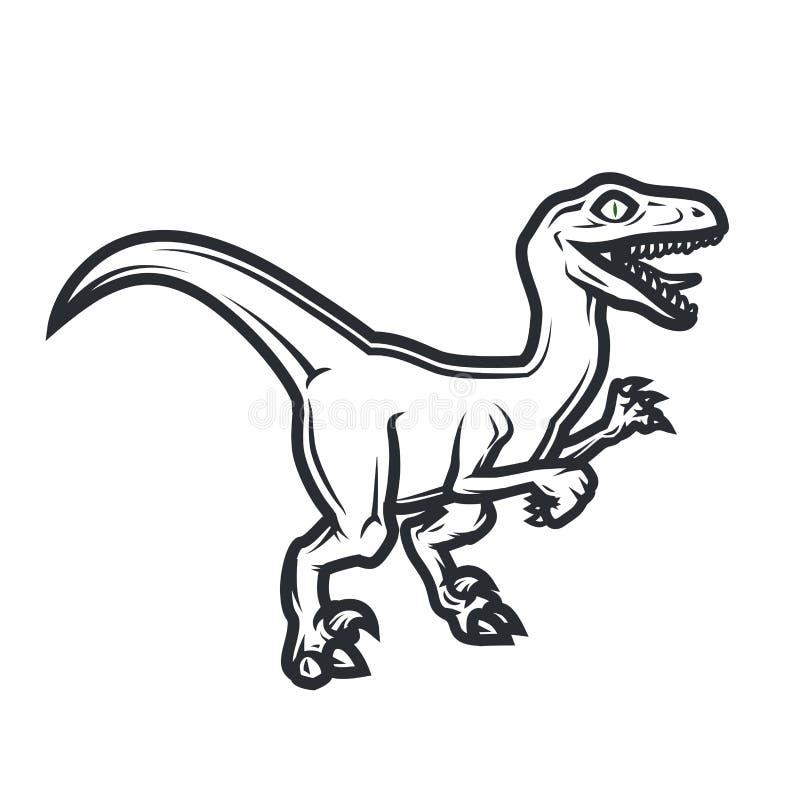 Доисторическая концепция логотипа dino Дизайн insignia хищника Юрская иллюстрация динозавра Концепция футболки на белизне иллюстрация вектора