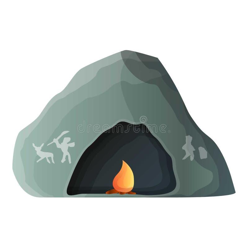 Доисторический значок пещеры, стиль мультфильма иллюстрация штока