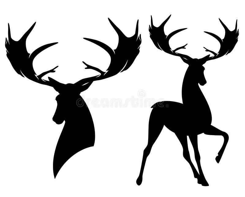Доисторический ирландский силуэт вектора черноты оленей лося иллюстрация вектора