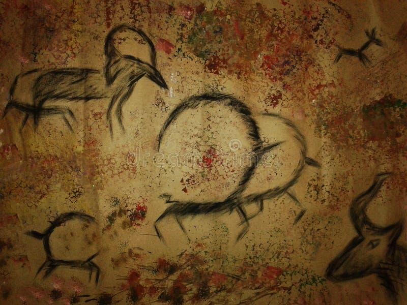 Доисторическое искусство с изображением текстур и животных, Mesolithic, картины пещеры иллюстрация вектора