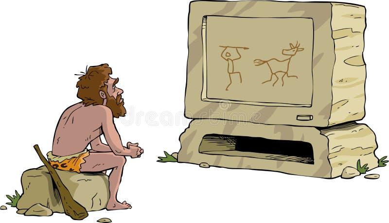 Доисторическое ТВ иллюстрация штока