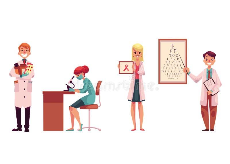 Доктора - аптекарь, лаборатория, ассистент, онколог и офтальмолог бесплатная иллюстрация