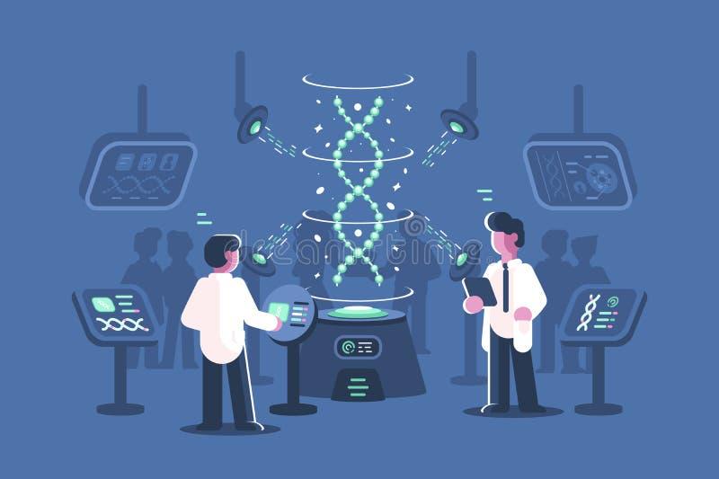 Доктора генетики исследуя ДНК в лаборатории иллюстрация штока