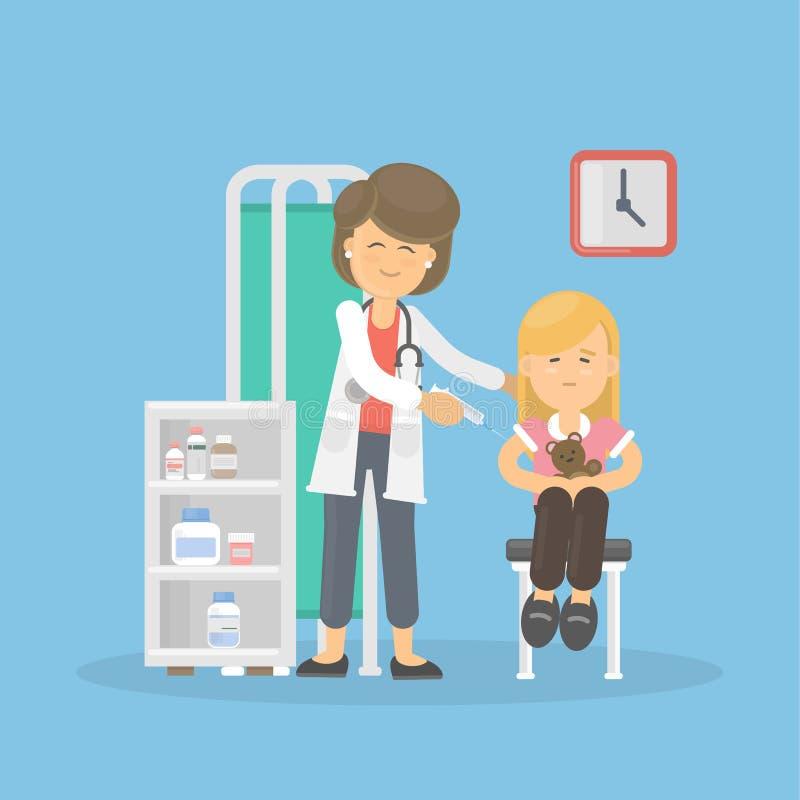 Доктор вакцинирует девушку иллюстрация вектора