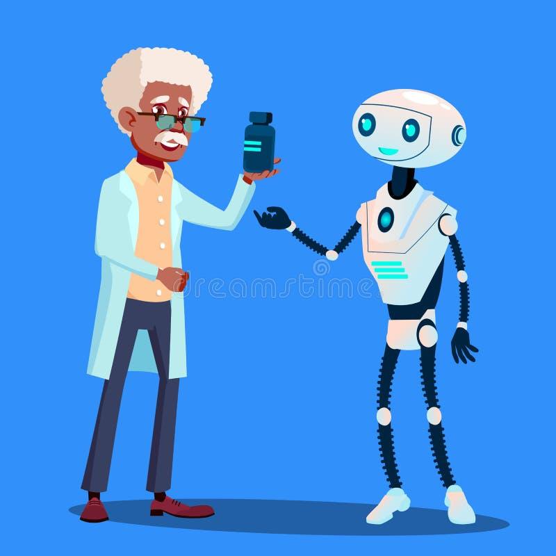 Доктор Вектор умного робота посещая изолированная иллюстрация руки кнопки нажимающ женщину старта s иллюстрация штока