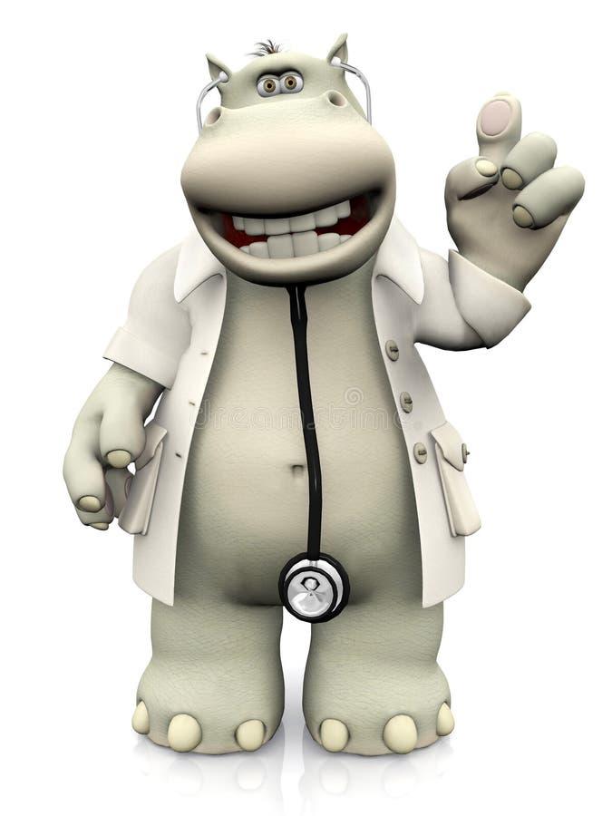 Доктор гиппопотама шаржа задерживая его палец иллюстрация вектора