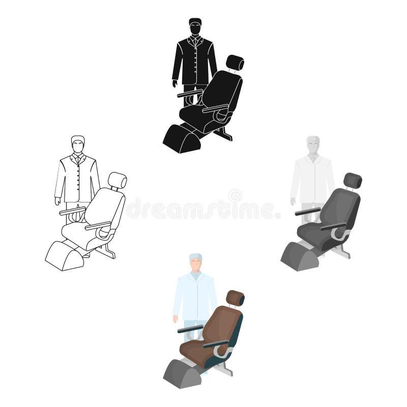 Доктор дантист в белом халате в офисе рядом со стулом Значок медицины одиночный в мультфильме, черном иллюстрация штока