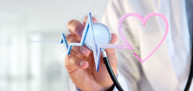 Доктор держа кривую сердца перевода 3d медицинскую стоковое фото rf