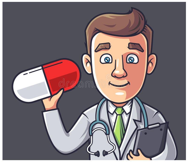 Доктор держит таблетку бесплатная иллюстрация
