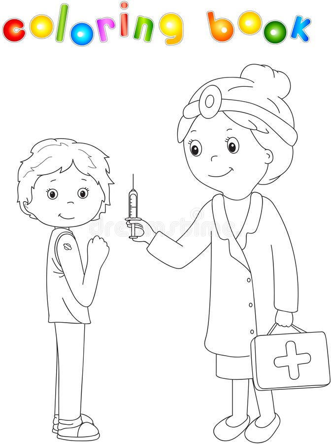 Доктор делает вакцинирование к пациенту Книжка-раскраска для детей иллюстрация вектора