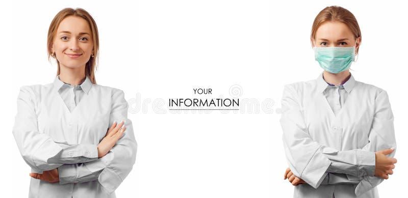 Доктор женщины в медицинской мантии и замаскированной картине медицины здоровья установленной стоковые фотографии rf