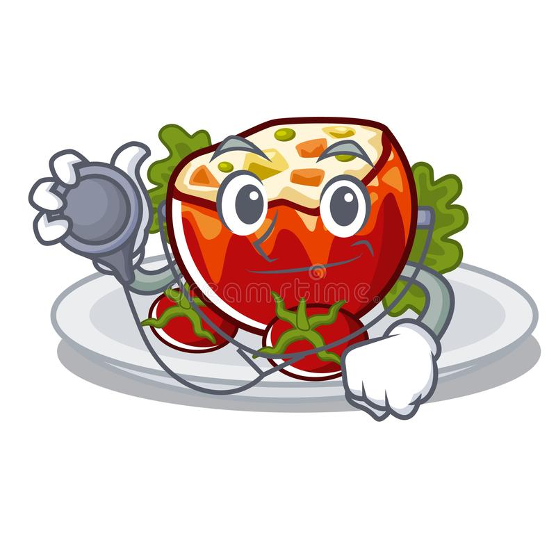 Доктор заполнил томаты положенные на плиты характера иллюстрация штока