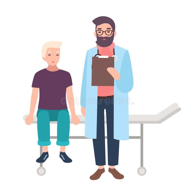 Доктор или медицинский советник и его маленький пациент сидя на больничной койке изолированной на белой предпосылке Мальчик на иллюстрация штока