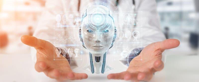 Доктор используя цифровой интерфейс 3D искусственного интеллекта представляет иллюстрация штока