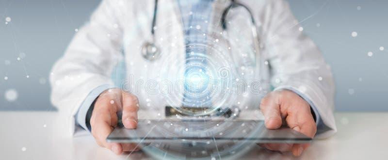 Доктор используя цифровой медицинский футуристический перевод интерфейса 3D иллюстрация штока