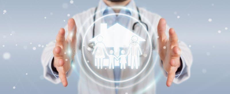 Доктор используя цифровой перевод интерфейса 3D заботы семьи иллюстрация штока