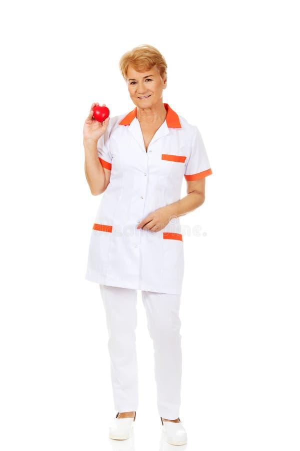 Доктор или медсестра улыбки пожилые женские держа красное сердце игрушки стоковое фото rf
