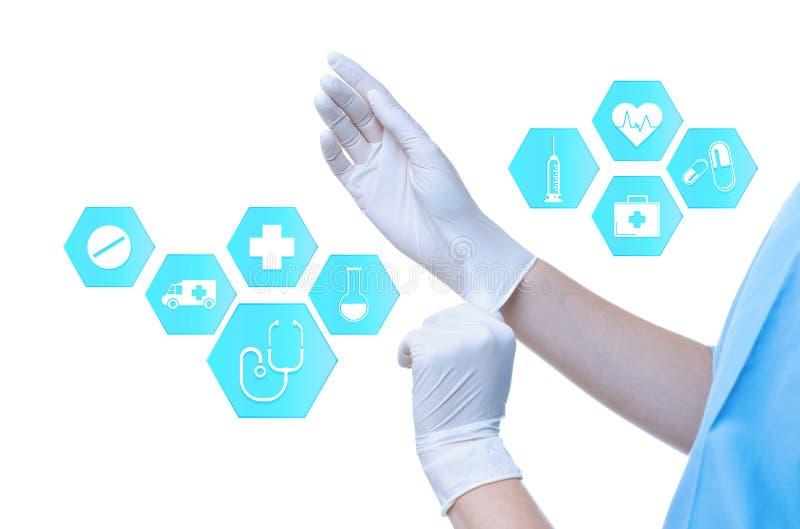 Доктор кладя на резиновые перчатки и информационные значки против белой предпосылки медицинское обслуживание иллюстрация вектора
