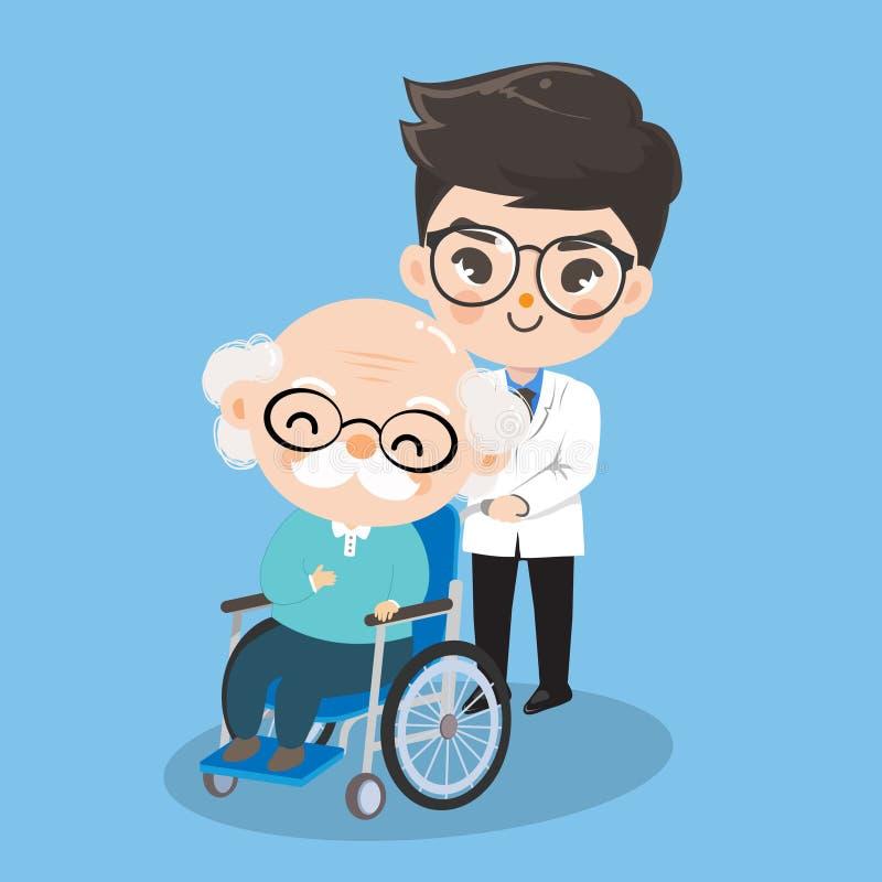 Доктор мальчика позаботится о пациенты старика с кресло-колясками иллюстрация вектора