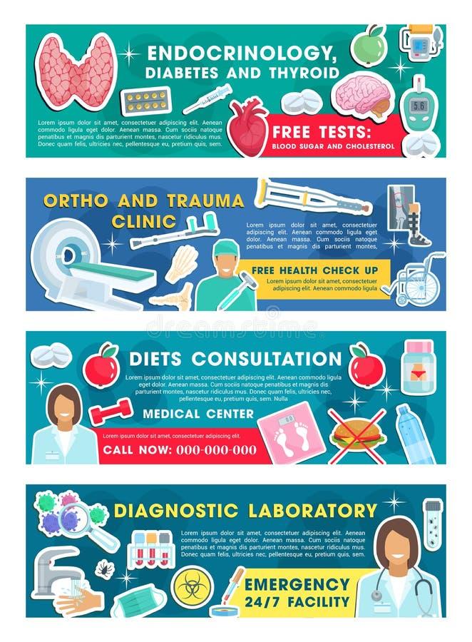 Доктор медицинской клиники с знаменами диагностического инструмента бесплатная иллюстрация