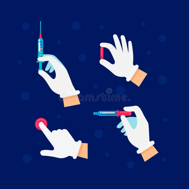 Доктор, медсестра держит шприцы и пробирки, phials в его руке для того чтобы впрыснуть вакцину Медицина, наука и здравоохранение иллюстрация штока