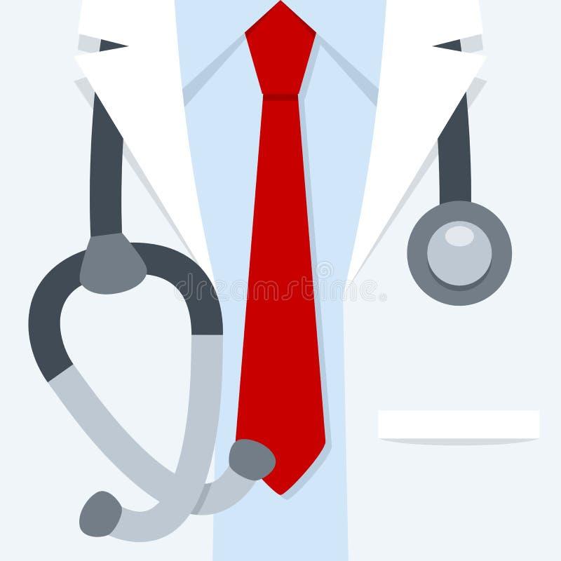 Доктор Медицинск Бел Пальто Закрывать вверх иллюстрация штока