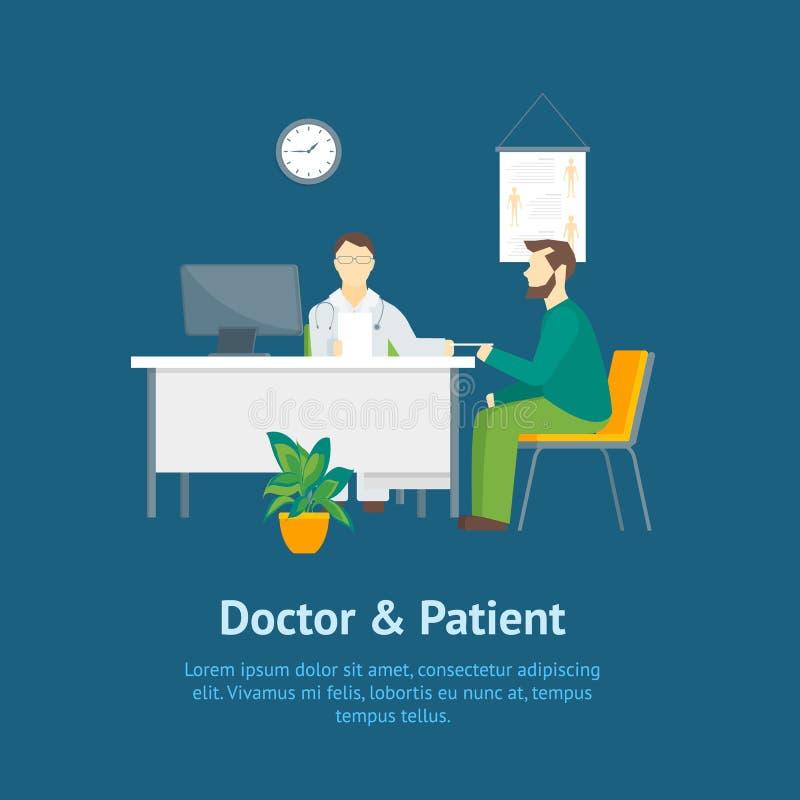 Доктор мультфильма и терпеливые люди характеров в плакате карты больницы вектор бесплатная иллюстрация