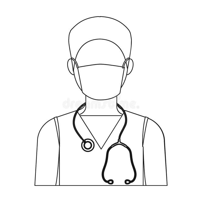 Доктор носит лицевой щиток гермошлема с phonendoscope Значок медицины одиночный в запасе символа вектора стиля плана иллюстрация штока