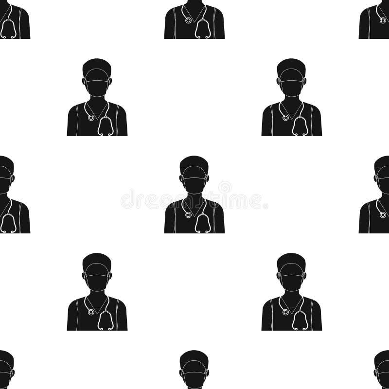 Доктор носит лицевой щиток гермошлема с phonendoscope Значок медицины одиночный в черном запасе символа вектора стиля иллюстрация вектора