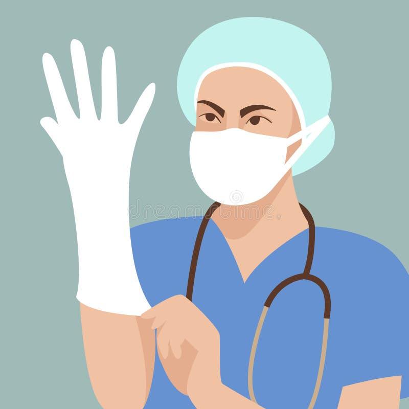 Доктор нося защитные перчатки vector фронт стиля иллюстрации плоский иллюстрация штока