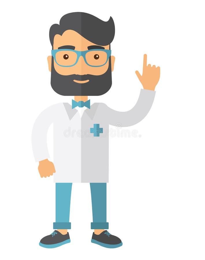 Доктор одетый в белом пальто лаборатории иллюстрация штока