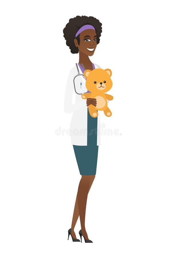 Доктор педиатра держа плюшевый медвежонка иллюстрация вектора