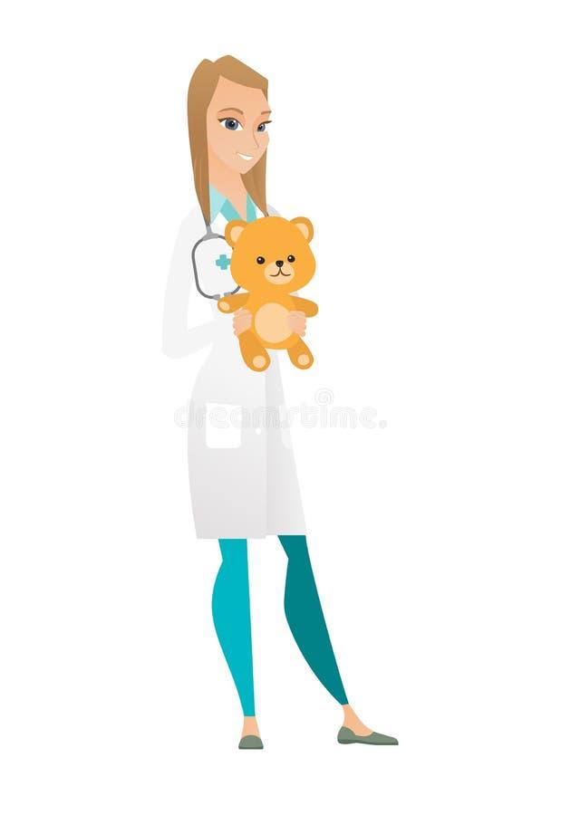 Доктор педиатра держа плюшевый медвежонка иллюстрация штока