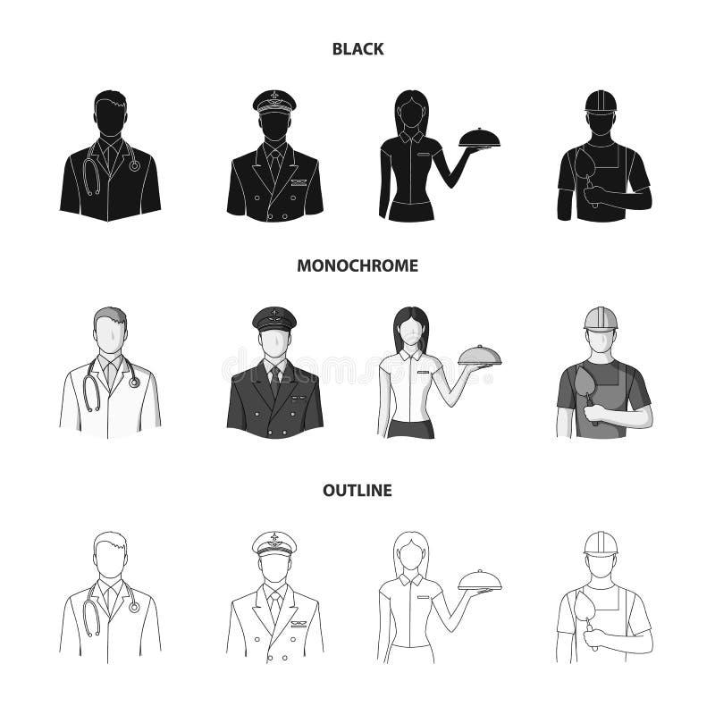 Доктор, пилот, официантка, построитель, каменщик Значки собрания профессии установленные в черной, monochrome, план иллюстрация вектора