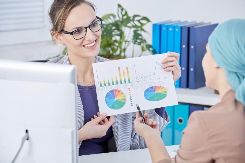 Доктор показывая диаграммы к ее пациенту стоковое фото