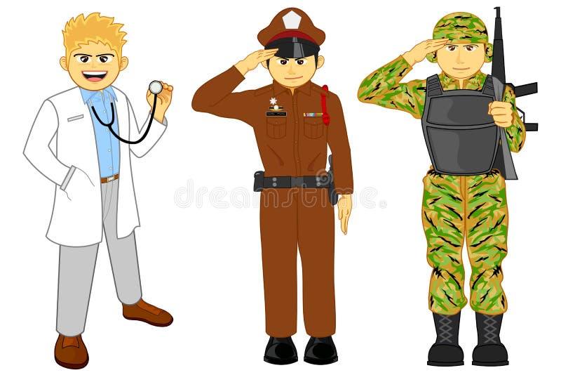 Доктор, полиция и воинская карьера иллюстрация вектора