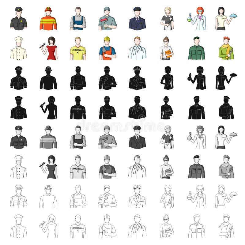 Доктор, работник, войска, художник и другие типы профессии Значки собрания профессии установленные в шарже вводят вектор в моду бесплатная иллюстрация