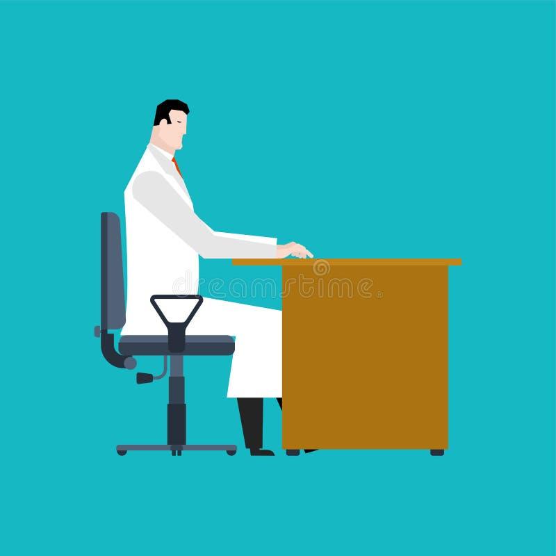 Доктор сидит на таблице работа медицинского человека r иллюстрация вектора