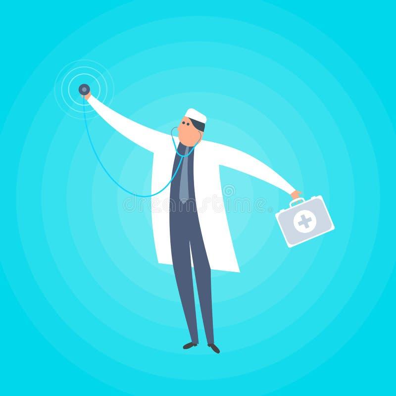 Доктор стоя с стетоскопом и медицинским чемоданом Вектор co иллюстрация вектора