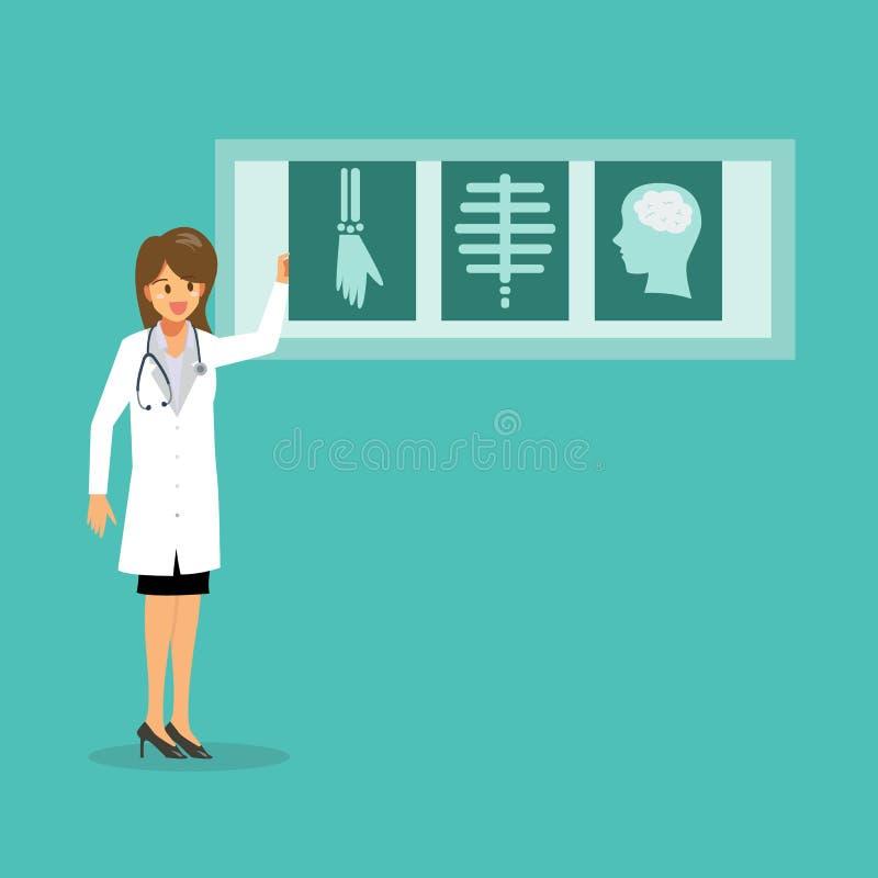 Доктор с фильмами рентгеновского снимка иллюстрация штока