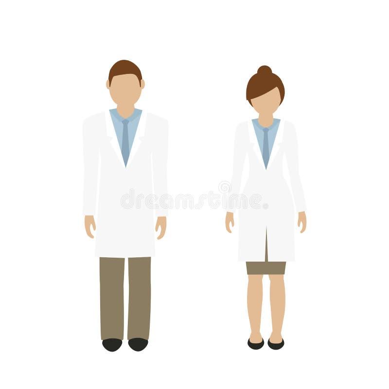 Доктор характера человека и женщины в белом пальто лаборатории иллюстрация штока