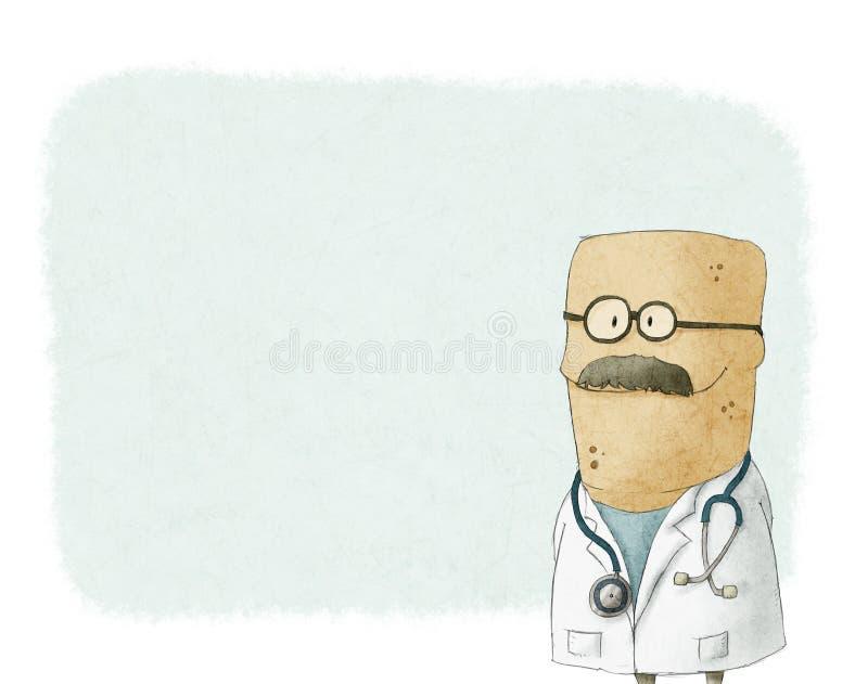 Доктор шаржа милый иллюстрация вектора