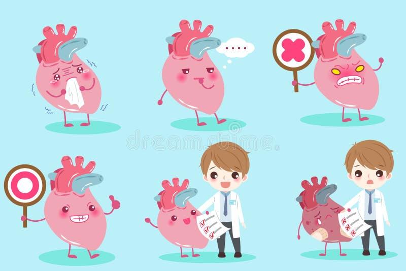 Доктор шаржа с сердцем иллюстрация вектора