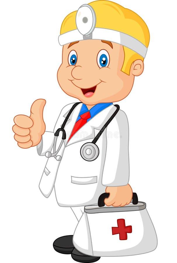 Доктор шаржа усмехаясь и дает большой палец руки вверх иллюстрация вектора