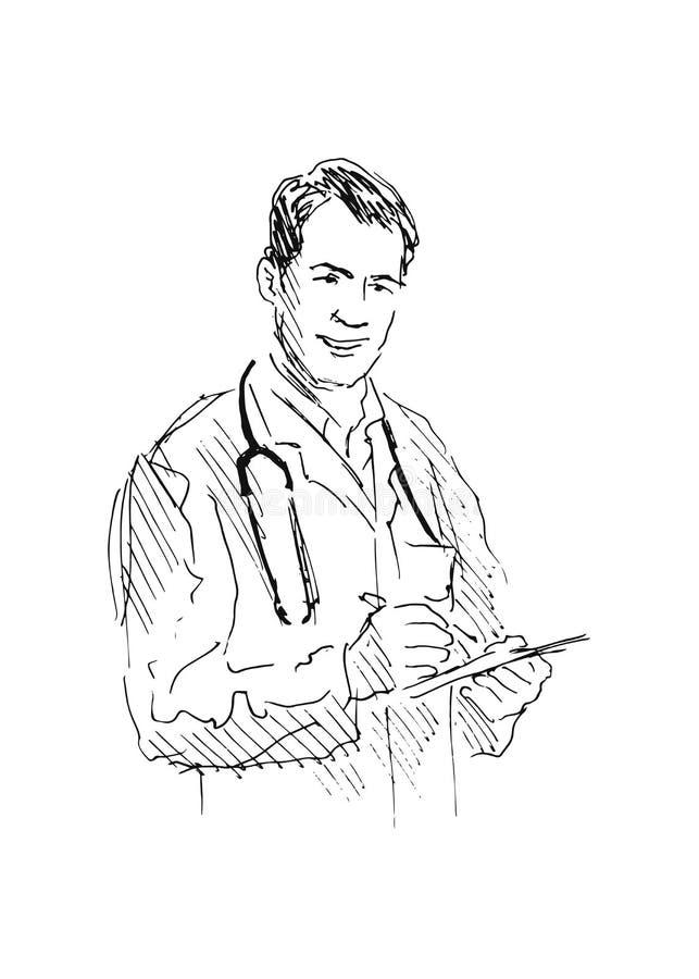 Доктор эскиза руки иллюстрация вектора