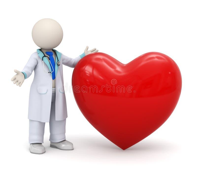 доктор 3d с большой красной иконой сердца иллюстрация вектора