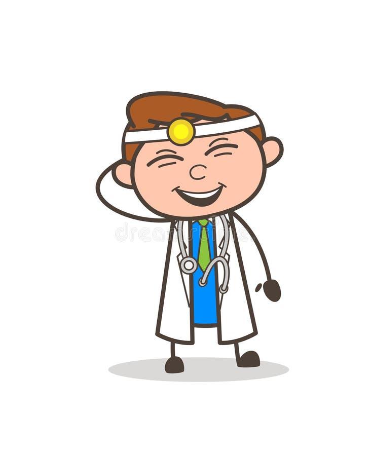 Доктор Laughing Выражение шаржа капризный иллюстрация вектора